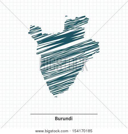 Doodle sketch of Burundi map - vector illustration
