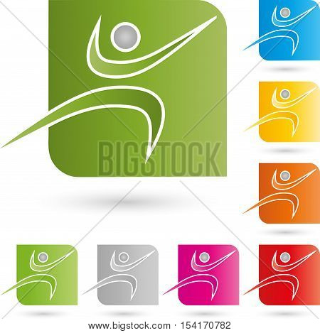Person in motion, sports and fitness logo