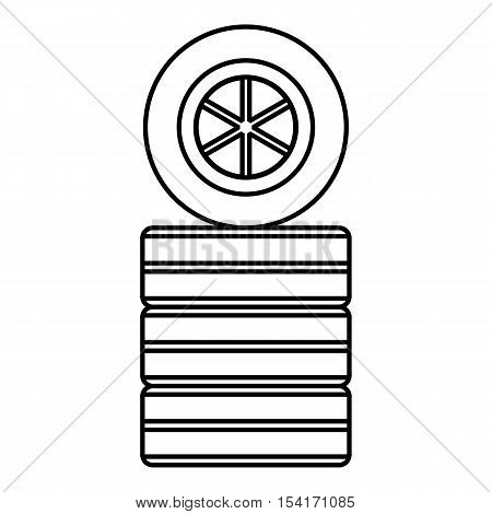 Racing wheel icon. Outline illustration of racing wheel vector icon for web