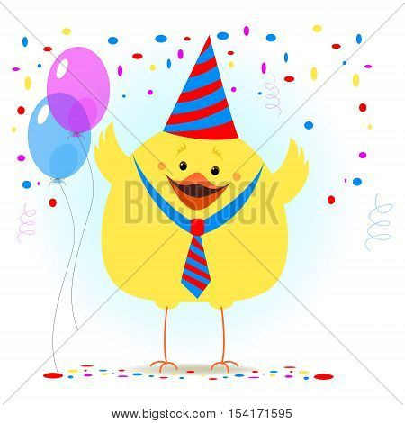 Chicken in a celebratory cap on a background of balls and confetti. Celebratory background. Vector