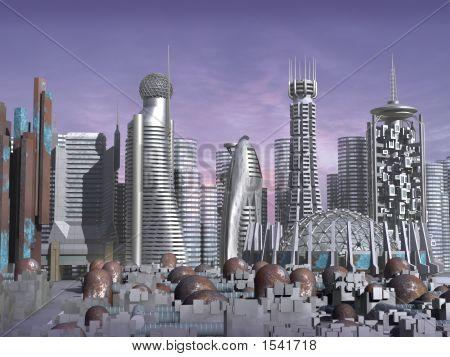 3D modelo de ciudad de la ciencia ficción