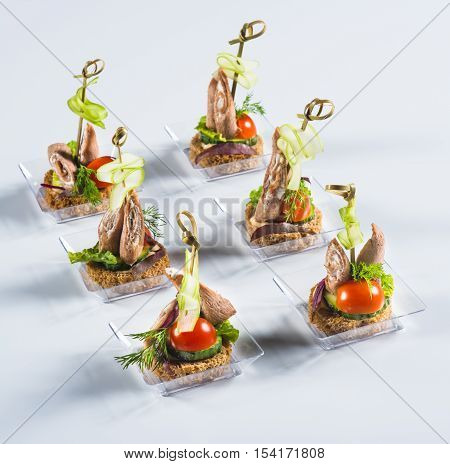 Bruschettas with liver roulade and vegetables on light background