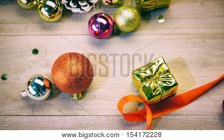 studio shot of christmas decorations.