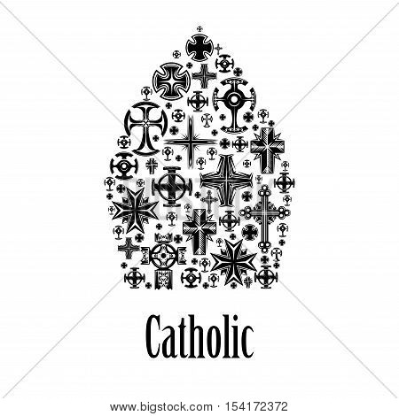 Catholic mitre icon. Christianity cross elements in shape of catholic religion headwear mitra element with decoration of crucifix cross pattern. Label for catholic religious decoration emblem design