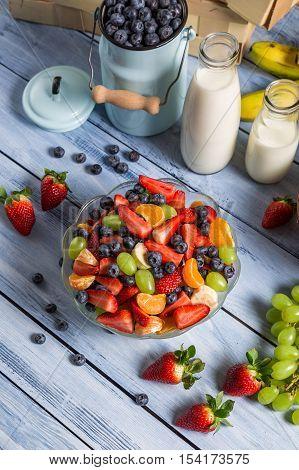Closeup Of Preparing A Healthy Spring Fruit Salad