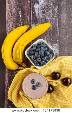 healthy fruity cherry banana blueberry smoothie breakfast