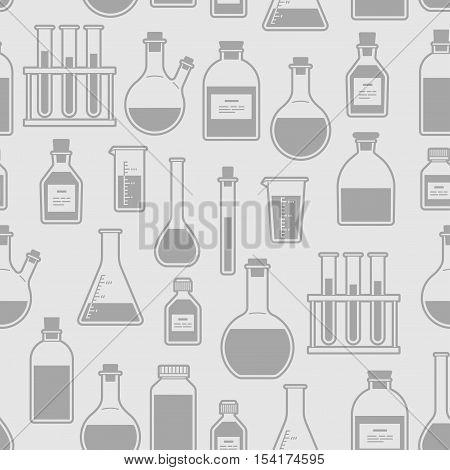 chemical glassware seamless pattern. The test tube beaker flask