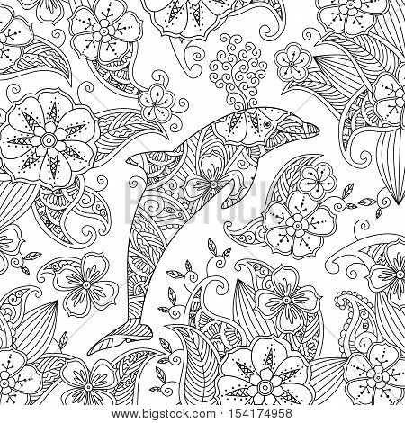 Coloring page with one jumping dolphin on floral background. Square composition. Coloring book for adult and older children. Editable vector illustration.