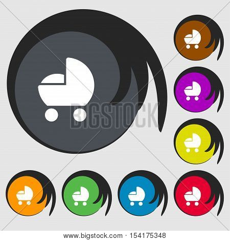 Baby Pram Icon Sign. Symbols On Eight Colored Buttons. Vector