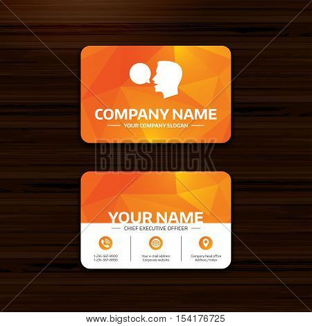 Business or visiting card template. Talk or speak icon. Speech bubble symbol. Human talking sign. Phone, globe and pointer icons. Vector