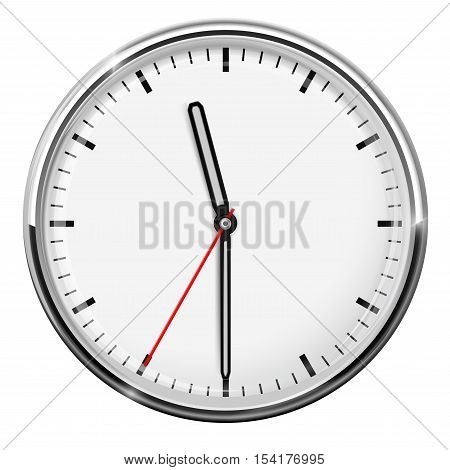 Clock. Eleven thirty. Simple classic style. Vector illustration isolated on white background