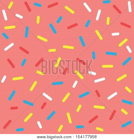 Donut glaze seamless pattern. Cream texture with sprinkle topping of colorful sprinkles on pink background. Food bakery decoration. Vector eps8 illustration.