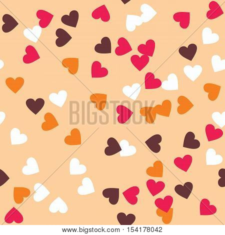 Donut glaze seamless pattern. Cream texture with sprinkle topping of colorful hearts on creamy background. Food bakery decoration. Vector eps8 illustration.