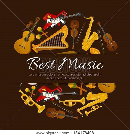 Best music design. Vector template for festival emblem, musical label, concert poster, album cover, fest banner with elements of musical instruments harp, trumpet, contrabass, drums, violin