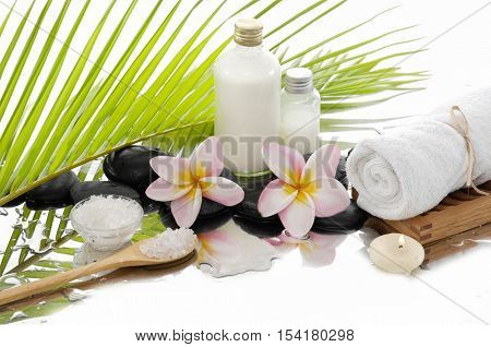 spa concept with palm ,towel, orchid, stones, frangipani, oil,salt in spoon