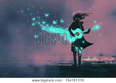 girl playing guitar with a blue light and glowing butterflies, illustration painting
