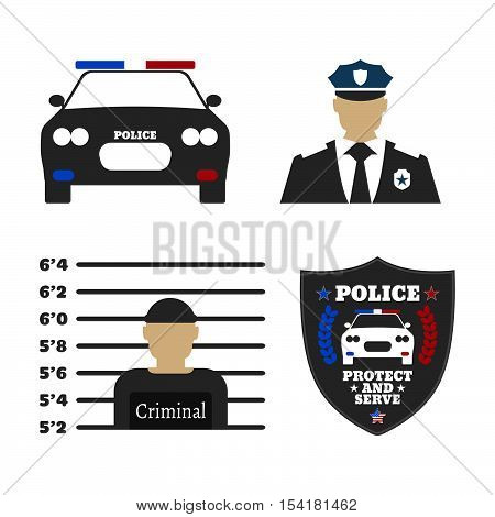 Police Car, Police Sign, Officer, Criminal Man. Elements Of The Police Equipment Icons. Protect And