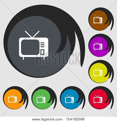 Tv Icon Sign. Symbols On Eight Colored Buttons. Vector