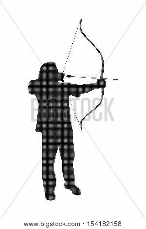 Silhouette of a man with a bow and arrow. Archer, bowman vector illustration, isolated on a white background