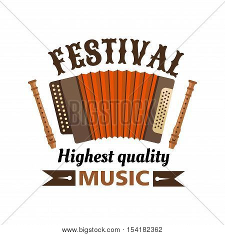 Music festival isolated vector label emblem. Russian harmonica and flutes with brown ribbon. Traditional accordion musical instrument icon for folk concert, music fest