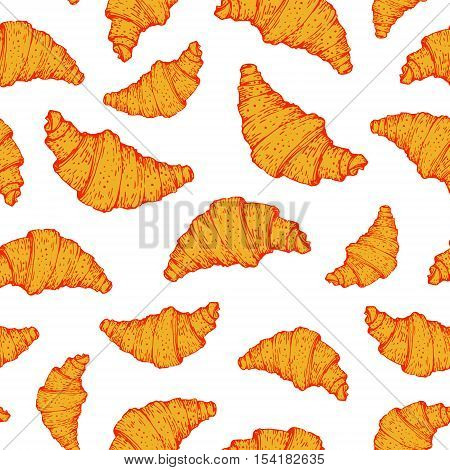 Seamless Nature Background With Croissant.