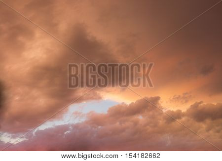 Colorful Skyscape With Versicolored Clouds At Sundown Dusk