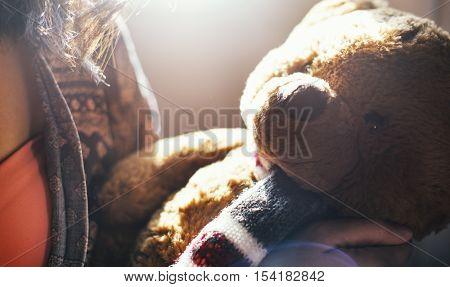 Woman Teddy Bear Lovable Toy Concept