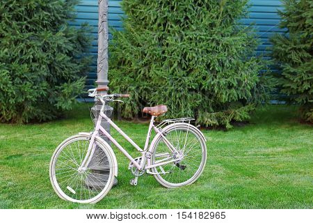 Bicycle parked near street lantern on green lawn