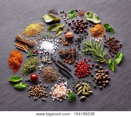 Herbs and spices on a black board