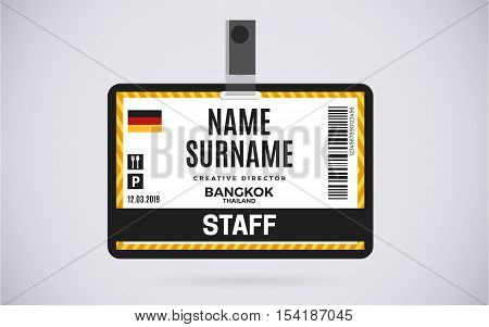 Event staff id card plastic badge with lanyard. vector design and text template illustration