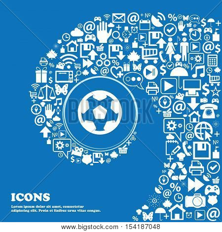 Football, Soccerball Icon Sign. Nice Set Of Beautiful Icons Twisted Spiral Into The Center Of One La