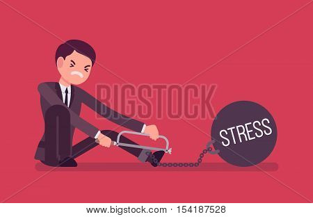 Businessman chained with a giant metall weight with a title Stress trying to escape, sawing. Cartoon vector flat-style concept illustration