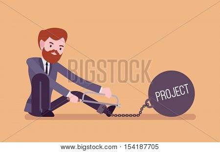 Businessman chained with a giant metall weight with a title Project trying to escape, sawing. Cartoon vector flat-style concept illustration