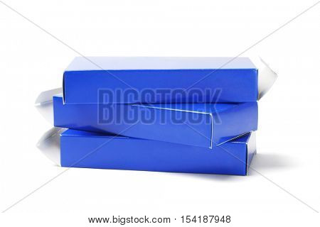 Stack of Empty Cardboard Medicine Boxes on White Background