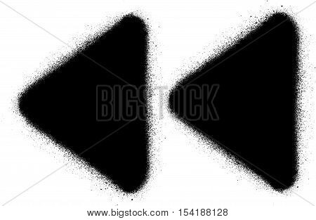 fast backward media graffiti spray icon in black over white