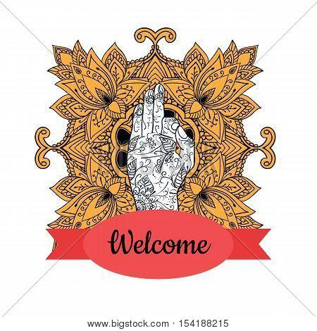 Elegant Ornaments Lace Mandala. Jnana mudra. Ancient decorative ornament pattern. Hand-drawn Islam, Arabic, Indian, ottoman motifs, greeting cards, wedding invitation, creative template, vector