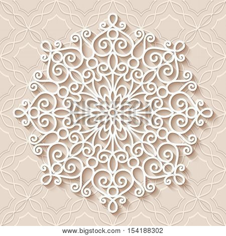 Paper lace doily, decorative snowflake, mandala, round tulle pattern, crochet ornament