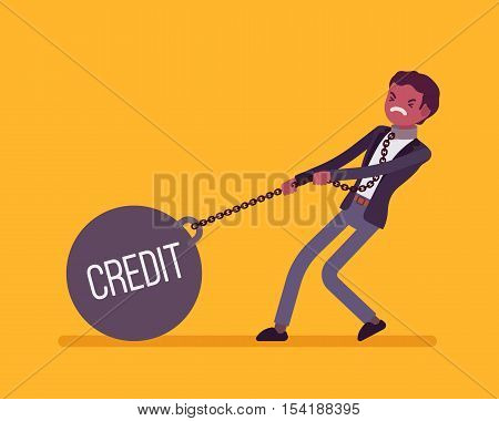 Businessman dragging a giant heavy weight on chain, written Credit on a ball. Cartoon vector flat-style concept illustration
