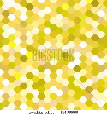 Vector Background With Yellow Hexagons. Can Be Used For Printing Onto Fabric And Paper Or Decoration