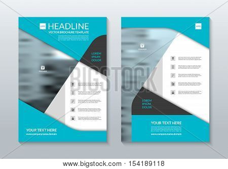 Blue annual report brochure layout template. A4 size. Front and back page. Can be used for flyer, handbill, handout, booklet, catalog, presentation, cover design, poster, leaflet. Vector background