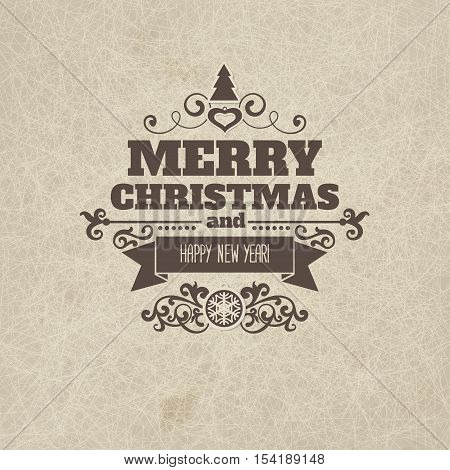 Vintage retro flat style trendy Merry Christmas badge and New Year wish greeting. Vector illustration with brown text inscription on scratched beige sandy background for wallpaper, wallpaper, booklets