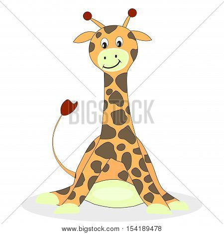 Cartoon giraffe isolated on white background. Baby giraffe and giraffe vector illustration