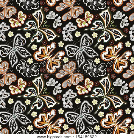 Seamless floral background with butterflies. Summer beautiful abstract pattern