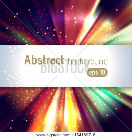 Vector Illustration Of Abstract Background With Blurred Magic Light Rays, Vector Illustration. Brown