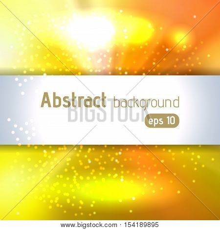 Background With Colorful Light Rays. Abstract Background. Vector Illustration. Yellow, Orange Colors