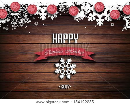 Wooden Christmas Holiday Winter Background With Shadows Balls Snowflakes And Text