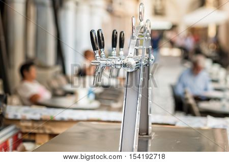 Draught Beer Taps And Other Beverages.