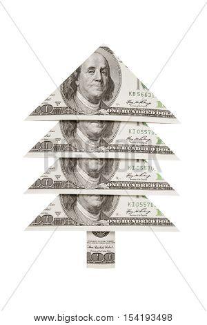 Christmas symbol and metaphor (dollars fur-tree). New Year...