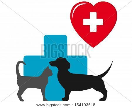 dog and cat veterinary icon with heart and animal pet silhouette