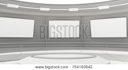 Empty modern futuristic room with white panels. 3D rendering